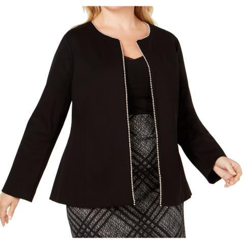Alfani Women's Topper Jacket True Black Size 20W Plus Beaded-Edge