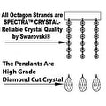 Crystal Chandelier Lighting With Large Black Shade H24 x W15 - Thumbnail 1