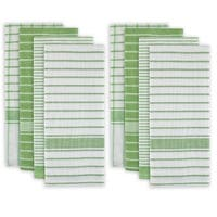 "Set of 8 Green and White Striped Pattern Rectangular Dish Towels 28"" x 20"""