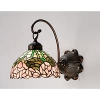 """Meyda Tiffany 18711 Cabbage Rose 8"""" Wide 1-Light Wall Sconce with Stained Glass Shade - Mahogany Bronze - n/a"""