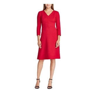 Link to RALPH LAUREN Red 3/4 Sleeve Above The Knee Sheath Dress  Size 10 Similar Items in Dresses