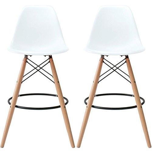 2xhome White Bar Stool Chairs For Kitchen Home Eiffel Plastic Modern Designer Work - N/A