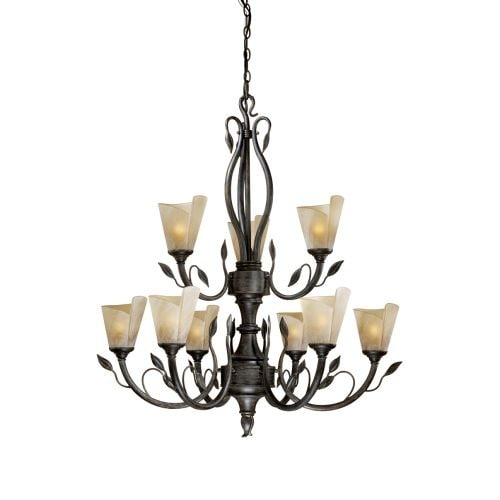 Vaxcel Lighting CP-CHU009 Capri 9 Light Two Tier Chandelier with Frosted Glass Shades - 34.5 Inches Wide