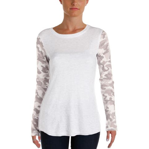 Kensie Womens Thermal Top Waffle Knit Camoflage