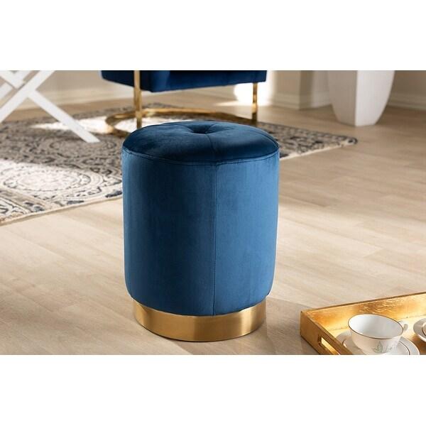 Elijah Navy Blue Velvet Fabric Upholstered Gold-Finished Ottoman