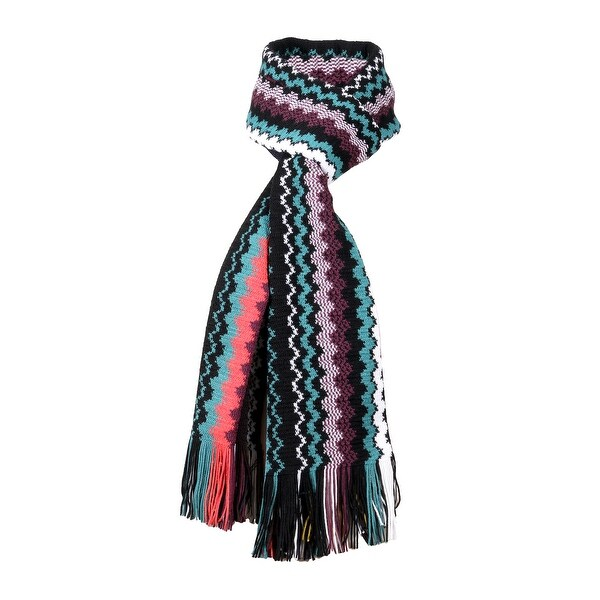 Missoni Black Crochet Knit Long Zigzag Fringe Scarf - 20-71. Opens flyout.