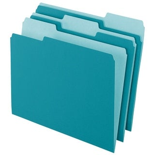 Pendaflex Mediumweight Stock 1/3 Cut Recycled Top Tab File Folder, Letter, Teal, Pack of 100