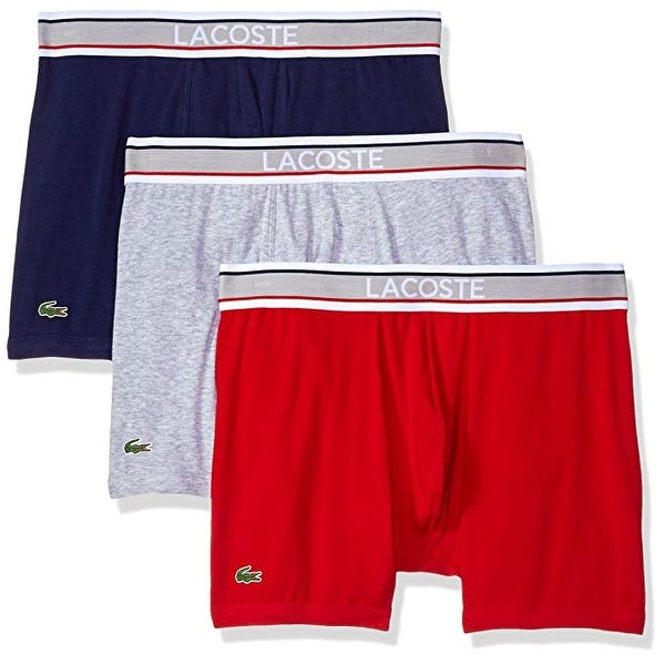 2d89e433 Lacoste Men's 3 Pack Flag Waistband Cotton Stretch Boxer Brief,  Blue/Gry/Chrry