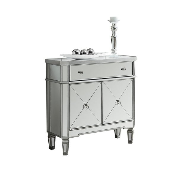 Monarch Specialties I 3710 32 Inch Tall Accent Storage Cabinet With 1 Drawer And Silver