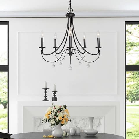 """Mid-century Modern 5-light Crystal Metal Chandeliers for Dining Room - D 24.5"""" x H 21.6"""""""