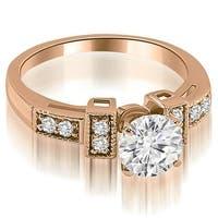 0.65 cttw. 14K Rose Gold Antique Style Milgrain Round Diamond Engagement Ring
