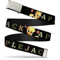 Blank Chrome Buckle Applejack Pose Face Close Up Black Greens Tan Web Belt
