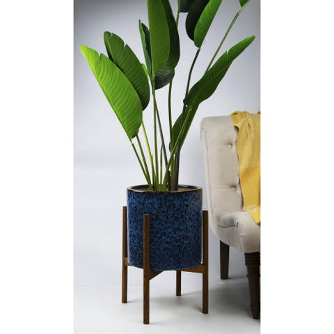 UPshining 13'' Extra Large Mid-Century Modern Ceramic Planter Peacock Blue With Wood Stands