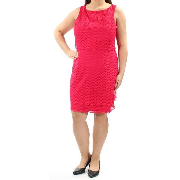 Shop AMERICAN LIVING Womens Pink Pop Over Mesh Sleeveless Jewel Neck Knee  Length Sheath Wear To Work Dress Size  16 - Free Shipping On Orders Over   45 ... d592e3814ef9