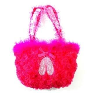 S Hot Pink Ruffle Straps Faux Fur Ballet Shoes Velvet Purse One Size