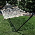Sunnydaze 2-Person Polyester Rope Hammock with Spreader Bars and Pillow - Hammock Stand Included - Thumbnail 6
