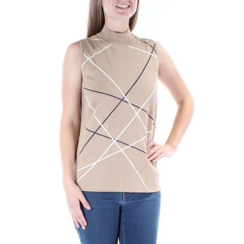 ALFANI Womens Beige Striped Sleeveless Turtle Neck Sweater Size: M