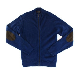 TOSCANO NEW Blue Mens Size XL Textured Full Zip Wool Knit Sweater
