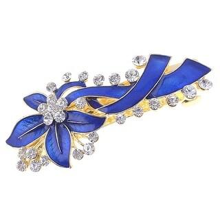 Unique Bargains Woman Blue Flowers Decor Metal Accent French Clip Hairclip