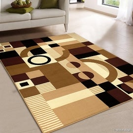 "Allstar Brown Area Rug. Contemporary. Abstract. Traditional. Geometric. Formal. Shapes. Squares (5' 2"" x 7' 1"")"