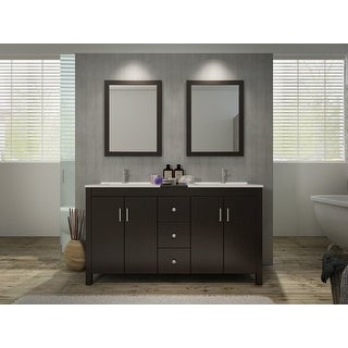 """Ariel K060D  Hanson 60"""" Free Standing Vanity Set with Wood Cabinet, Stone Top, 2 Drop In Sinks and 2 Mirrors"""