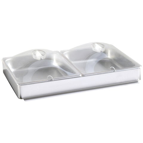 BroilKing 1/2 Size Inset Accessory Package: Two 4.3 qt. Pans + Plastic Lids & PS-TBS Pan Holder