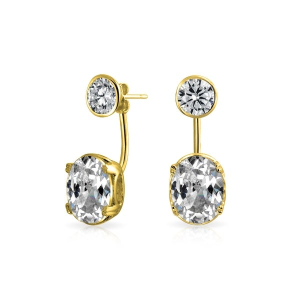 8283d05a7 Classic Prom Cubic Zirconia Front Back Round Modern Ear Jackets Earrings  For Women Gold Plated 925