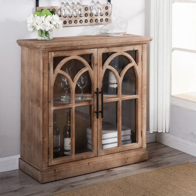 StyleCraft Brantley Two Door Wood and Tempered Glass Cabinet with Arch Design Wood Fronts and Smooth Top and Sides