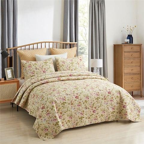 Vintage Rose Reversible Quilt Set, Bedspread, Coverlet