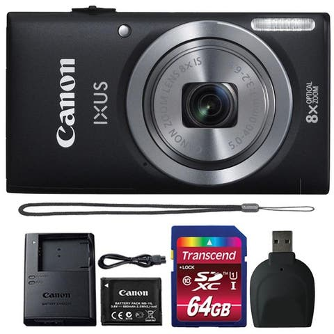 Canon IXUS 185 / ELPH 180 20MP Black Digital Camera + 64GB Memory Card + Reader