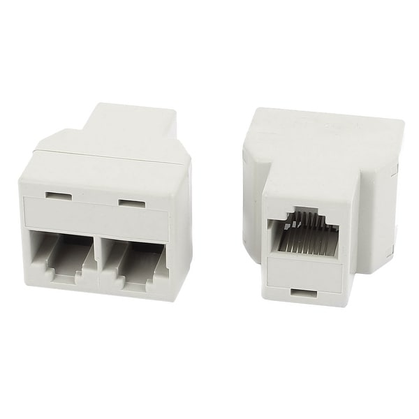 2Pcs 3 Way RJ45 8P8C Internet Extension Connector Cable Converters Splitter