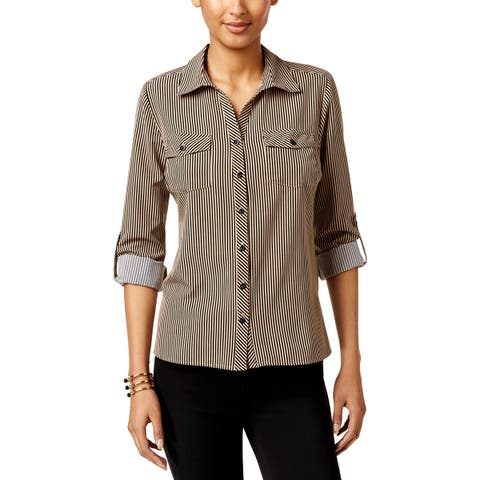 NY Collection Womens Petites Button-Down Top Striped Utility