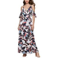 Bar III Printed Cold Shoulder Maxi Dress Washed White Combo