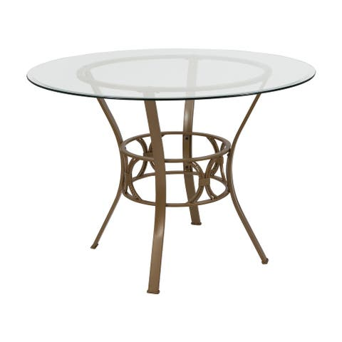 42'' Round Glass Dining Table with Crescent Style Metal Frame