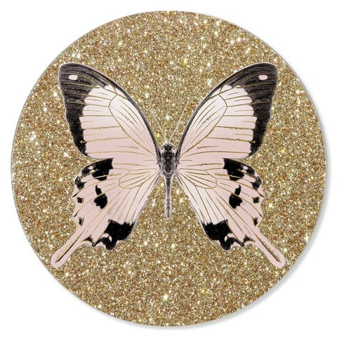 Oliver Gal 'Monochrome Butterfly Round' Glam Gold Acrylic Wall Art