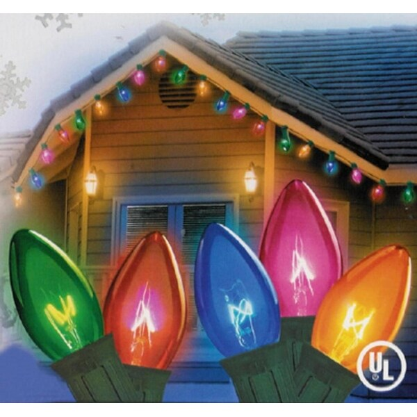 Set of 25 Transparent Multi-Color Twinkling C9 Christmas Lights - Green Wire