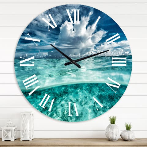 Designart 'Amazing Underwater Seascape and Clouds' Nautical & Coastal wall clock