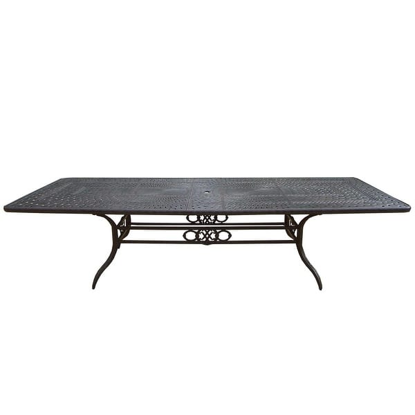 126 Black Aluminum Outdoor Furniture Patio Extendable Dining Table Overstock 22725684