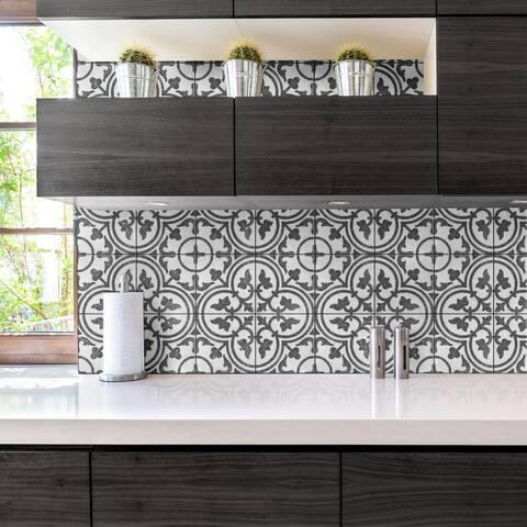 "SomerTile Atempo Palazzo Cerdena Encaustic 9.86"" x 9.86"" Porcelain Floor and Wall Tile - Case (16 Tiles)"