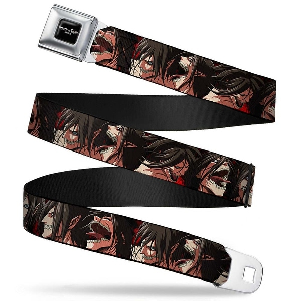 Attack On Titan Logo Full Color Black White Red Titan Form Eren Expressions Seatbelt Belt