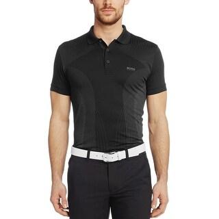 Hugo Boss Green Label Slim Fit Parsu Geometric Polo Shirt Black Large L