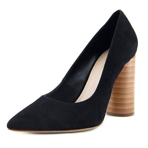Pour La Victoire Ceceks Women Pointed Toe Suede Black Heels