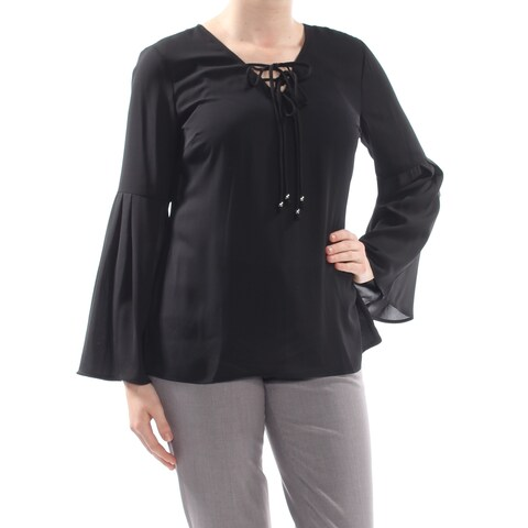 NY COLLECTION Womens Black Tie Bell Sleeve V Neck Wear To Work Sweater Size: M