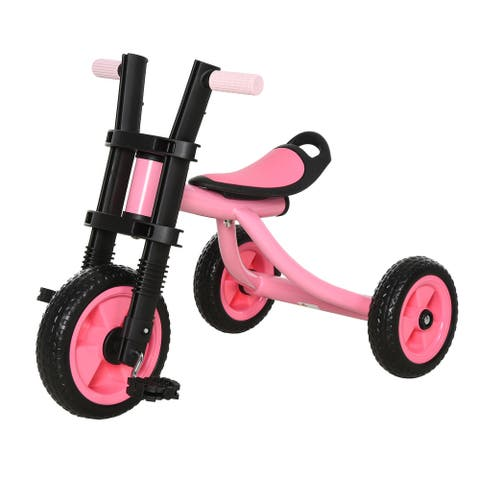 Qaba Kids Ride-On Cycling Tricycle with a Chic Timeless Design Color & a Safety & Comfortable EVA Foam Seat
