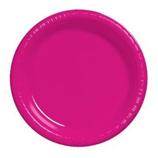 10 in. Heavy Duty Disposable Plastic Party Plates, Magenta -