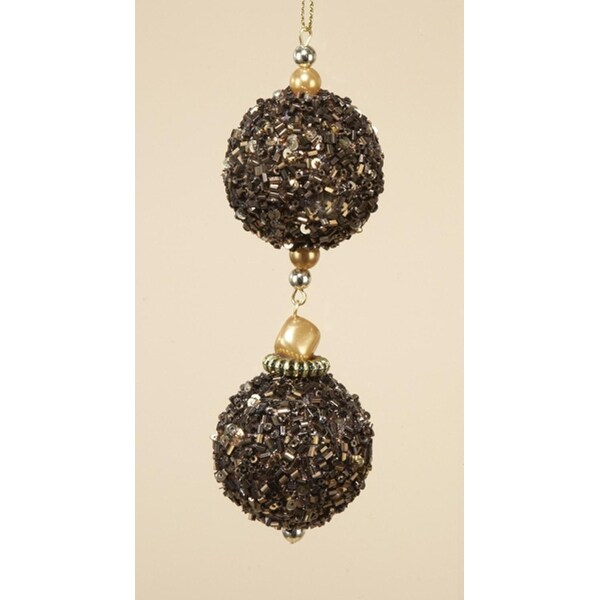 Chocolate Shop Brown Balls Rolled in Glitter Christmas Ornament 5""