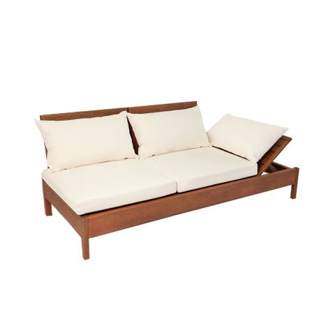 Kiobu Eucalyptus Wood Reclining Lounge Chair Sofa with Cushions by Havenside Home