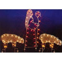 "68"" Nativity Shepherd and Sheep Silhouette Lighted Wire Frame Christmas Outdoor Decoration - multi"