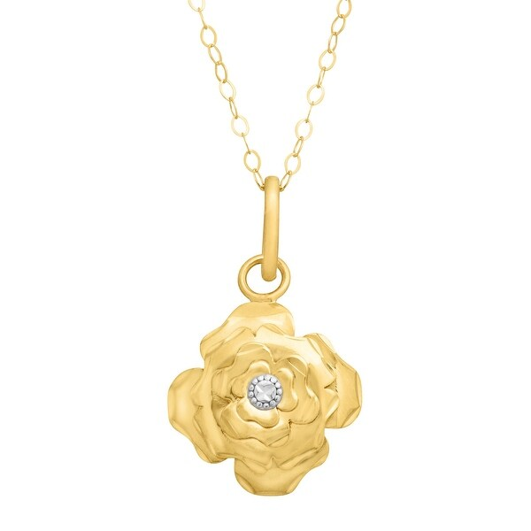 Eternity Gold Rose Pendant Necklace in 14K Gold - Yellow
