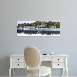 Easy Art Prints Panoramic Image 'Boathouse Row at waterfront, Schuylkill River, Philadelphia, Pennsylvania' Canvas Art